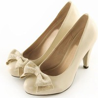 Wholesale Sweet bowknot stars thick high heel single shoes SY-C0341 white - Lovely Fashion