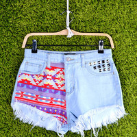 High Waist Cut Off Denim Shorts With Studs & Tribal - LIGHT DENIM/Purple