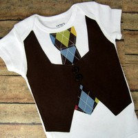 Little Man Vest and Tie Onesuit or Shirt Brown by bkchicboutique