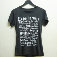 Short sleeve tshirt size S M L dark grey Expelliarmus magic spell Harry Potter shirt women t shirts