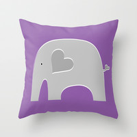 Purple Safari Elephant 2 Throw Pillow by Elephant Love | Society6