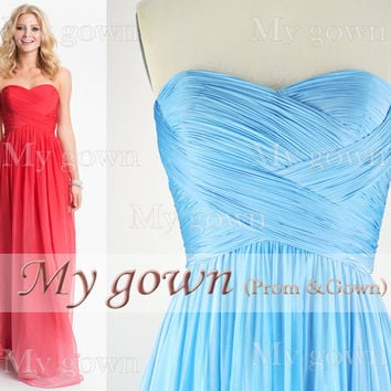 2014 Prom Dress,Strapless Draped Floor Length Chiffon Bridesmaid Dresses,Bridesmaid Dresses Wedding Dress,Evening Dress,Formal Dress,Gowns