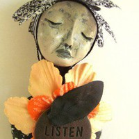 Bella the Listener Garden Spirit Art Doll Ornament by Jeanne Fry | ConsciousArtStudios - Dolls &amp; Miniatures on ArtFire
