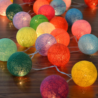 Mixed Colour Cotton Balls Hanging Fairy Lights Patio Wedding String Lights (20 Lights/Set)