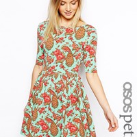 ASOS PETITE Peacock Print Wrap Back Skater Dress