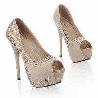 Wholesale 2012 temperamen peep toe rhinestone waterproof increased sexy OL pumps Z-JQ222-1 rice - Lovely Fashion