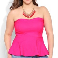 Plus Size Strapless Peplum Top with Zip Back and Padded Bust