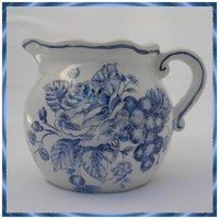 Blue and White Pitcher - Creamer with Transfer Pattern | DayBeforeYesterday - Ceramics &amp; Pottery on ArtFire