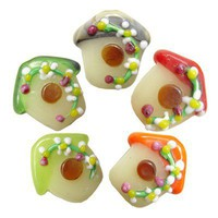 Glass lampwork bird house beads | kitschbeads - Jewelry Supplies on ArtFire