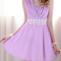 Purple Lavender Sleeveless Minidress w/ Lace & Bows