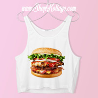 Cheese Burger Crop Tank Top