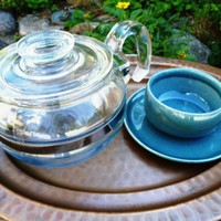 Vintage Glass Teapot Pyrex Flame Ware Blue Tint circa 1940s | RefinedVintage - Kitchen &amp; Serving on ArtFire
