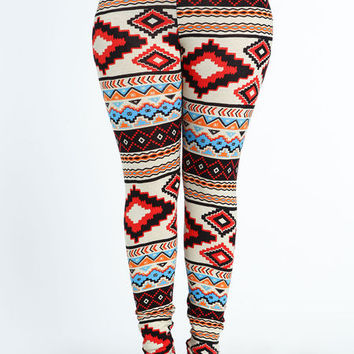 PLUS SIZE SOUTHWESTERN LEGGINGS