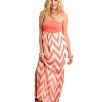 NEW Medium Neon Coral Pink HOT Chevron White Maxi Dress Tube Strapless Chiffon