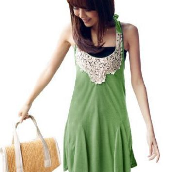 Allegra K Women Crochet Floral Neckline Green Self Tie Halter Strap Dress XS