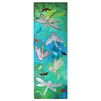 Original Painting Abstract DRAGONFLY PANEL 10x30 by nJoyArt