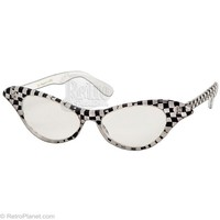 Checker Glasses Retro 50's Glasses Eye Wear from RetroPlanet.com