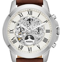Men's Fossil 'Grant' Automatic Leather Strap Watch, 44mm