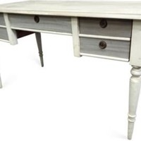 5-Drawer Desk, Gray & White - One Kings Lane - Vintage & Market Finds - Furniture