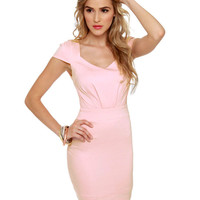 Lovely Light Pink Dress - Short Sleeve Dress - $45.00