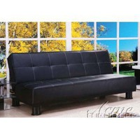 Adjustable Futon Sofa Bed in Black Bycast Leather