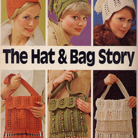 Vintage 70s Crochet Pattern The Hat and Bag by treazureddesignz