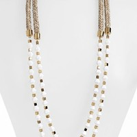 Tory Burch 'White Stone' Double Strand Rope Necklace