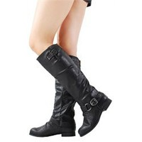 Wild Diva Tosca01a Black Round Toe Riding Boots and Womens Fashion Clothing  Shoes - Make Me Chic