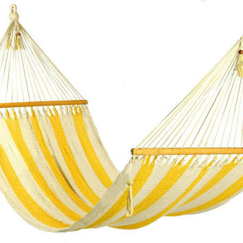 Stylish yellow and white stripes Hammock by veronicacolindres