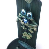 Frogs Themed Wooden Decorative Handmade Incense Burner Holder Stand