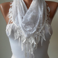 White Cotton Scarf with White Trim Edge White by SwedishShop