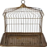 One Kings Lane - Eddie Ross - Rectangular Brass Birdcage, C. 1920