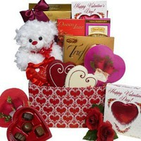 Whole Lot of Love, Hugs and Kisses Chocolate and Candy Gift Box with Teddy Bear - Valentine's Day