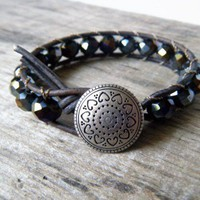 The Only Exception - Boho Glam Leather Wrap Bracelet distressed gray and multicolor Crystal OOAK | TheMeadow - Jewelry on ArtFire