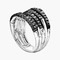 John Hardy 'Bamboo - Lava' Wide Pave Sapphire Stack Ring