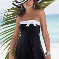 black Swimdress with white bow