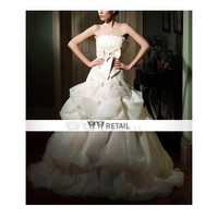 Ball Gown Strapless Court Train Organza Satin Pick-up Wedding Dress (TBGWD018) - Ball Gown - Wedding Dresses