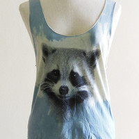 Raccoon Face Animal Style Tank Top Blue Dyed by sinclothing on Etsy $15.99