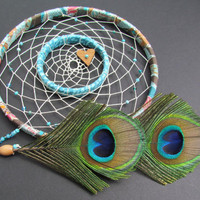 Double Dream Catcher Peacock 7 inch hoop turquoise by wingedwhimsy