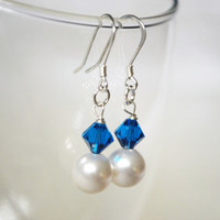 Sterling Silver Earrings featuring Swarovski Pearls by Meghanlee5