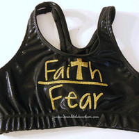 Faith over Fear Metallic Sports Bra Gold Cheerleading, Yoga, Running, Working Out