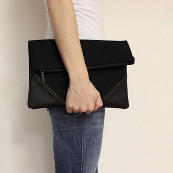 Black Foldover Clutch Bag, Clutch Purse, Large Black Clutch, Oversized Fold Over Clutch, Zipper Clutch,Large Clutch Bag,Black Foldover Purse