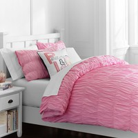 Ruched Duvet Cover + Sham, Soft Pink