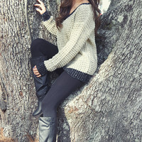 Just The Way You Are Sweater: Tan/Black
