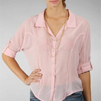 Blush Long Sleeve Chiffon Collar Top