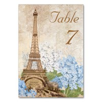 Paris Blue Hydrangea Vintage Romantic Table Card