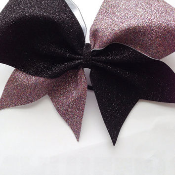 Black & Rainbow Glitter Cheerleader Bow