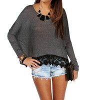 Promo-Gray Crochet Long Sleeve Top