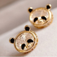 Cute Pandas Rhinestone Statement Earrings
