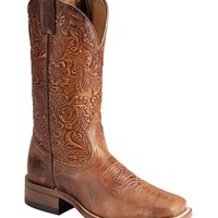 Boulet Tooled Calf Cowgirl Boots - Square Toe - Sheplers